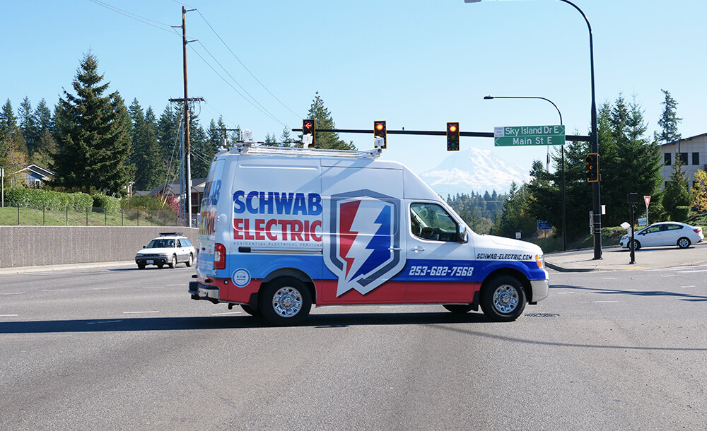 Schwab Electric's service vehicle in Bonney Lake, WA